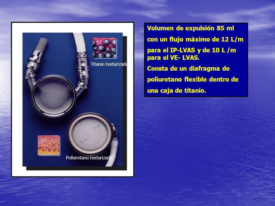 Volumen de expulsión 85 ml con un flujo máximo de 12 L/m para el IP-LVAS y de 10 L /m para el VE- LVAS. Consta de un diafragma de poliuretano flexible
