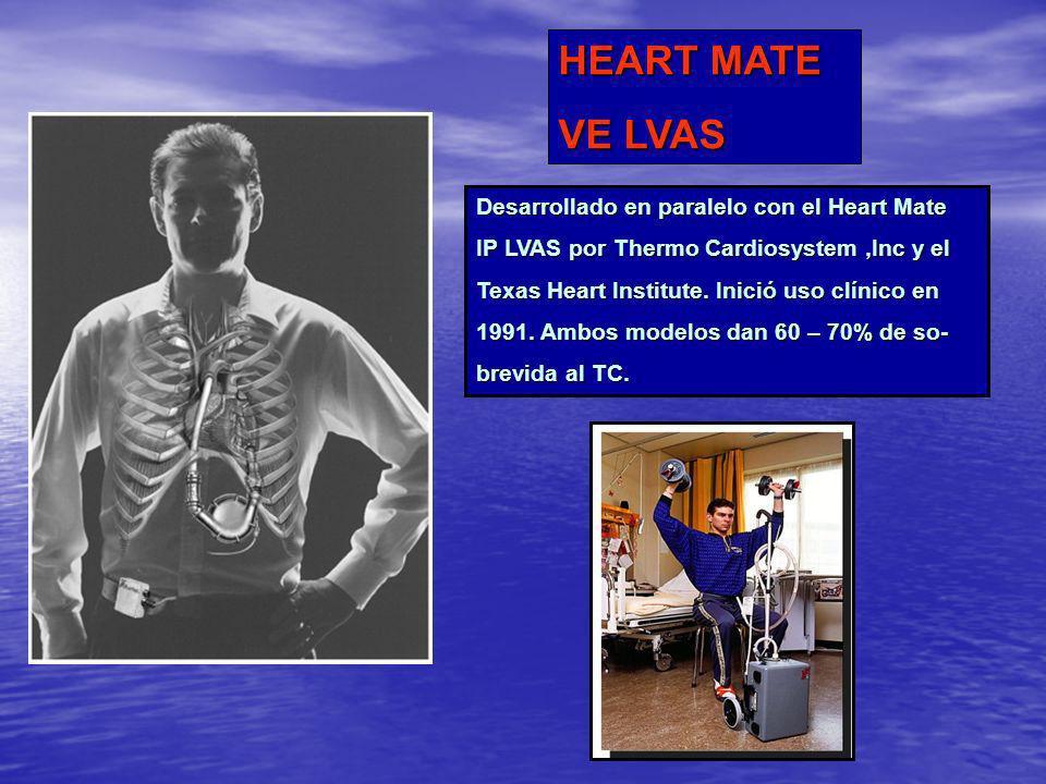 HEART MATE VE LVAS Desarrollado en paralelo con el Heart Mate IP LVAS por Thermo Cardiosystem,Inc y el Texas Heart Institute. Inició uso clínico en 19