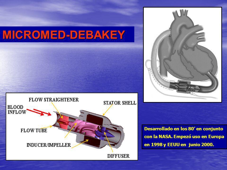 Desarrollado en los 80 en conjunto con la NASA. Empezó uso en Europa en 1998 y EEUU en junio 2000. MICROMED-DEBAKEY