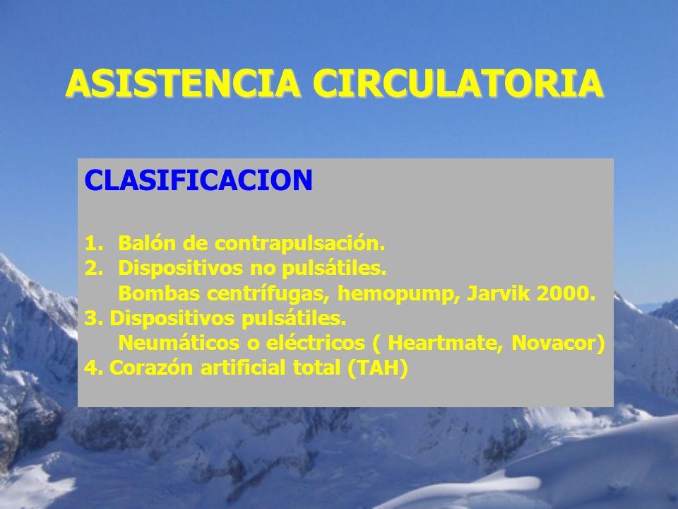 ASISTENCIA CIRCULATORIA CLASIFICACION 1.Balón de contrapulsación. 2.Dispositivos no pulsátiles. Bombas centrífugas, hemopump, Jarvik 2000. 3. Disposit