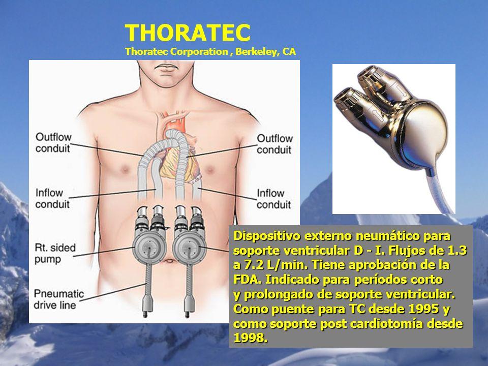 THORATEC Thoratec Corporation, Berkeley, CA Dispositivo externo neumático para soporte ventricular D - I. Flujos de 1.3 a 7.2 L/min. Tiene aprobación