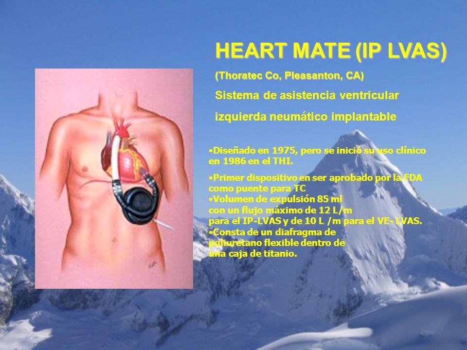 (Thoratec Co, Pleasanton, CA) Sistema de asistencia ventricular izquierda neumático implantable Diseñado en 1975, pero se inició su uso clínico en 198