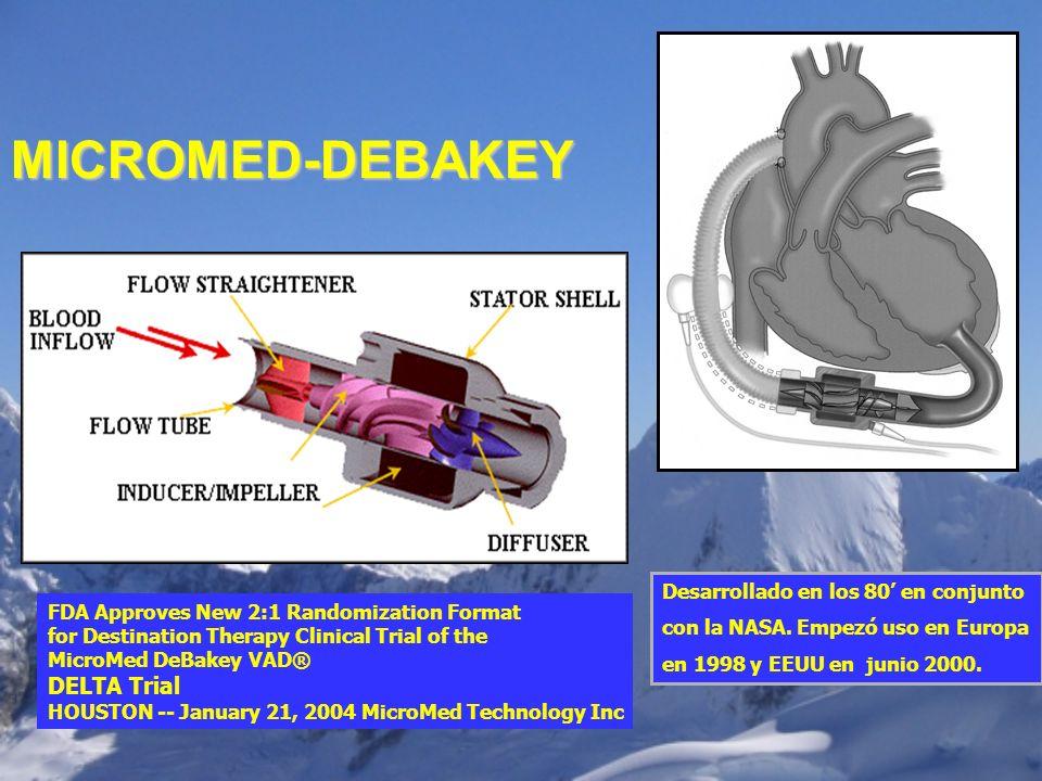 Desarrollado en los 80 en conjunto con la NASA. Empezó uso en Europa en 1998 y EEUU en junio 2000. MICROMED-DEBAKEY FDA Approves New 2:1 Randomization