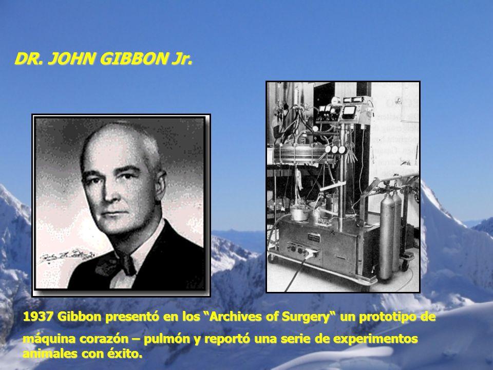 DR. JOHN GIBBON Jr. 1937 Gibbon presentó en los Archives of Surgery un prototipo de máquina corazón – pulmón y reportó una serie de experimentos anima