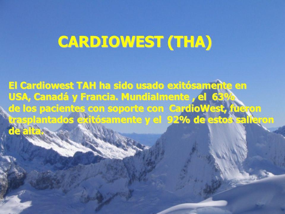 El Cardiowest TAH ha sido usado exitósamente en USA, Canadá y Francia. Mundialmente, el 63% de los pacientes con soporte con CardioWest, fueron traspl