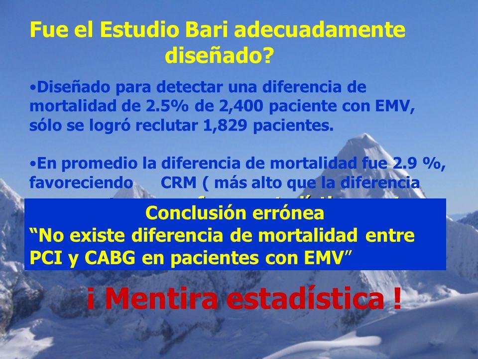 Fue el Estudio Bari adecuadamente diseñado? Diseñado para detectar una diferencia de mortalidad de 2.5% de 2,400 paciente con EMV, sólo se logró reclu