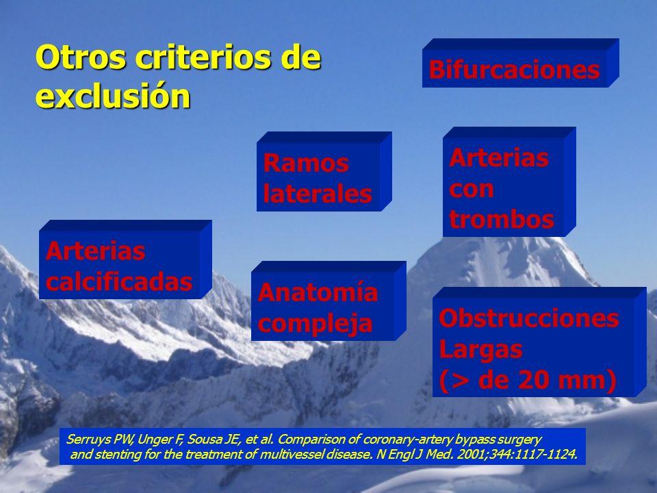 Otros criterios de exclusión Bifurcaciones Arterias calcificadas Ramos laterales Anatomía compleja Arterias con trombos Obstrucciones Largas (> de 20