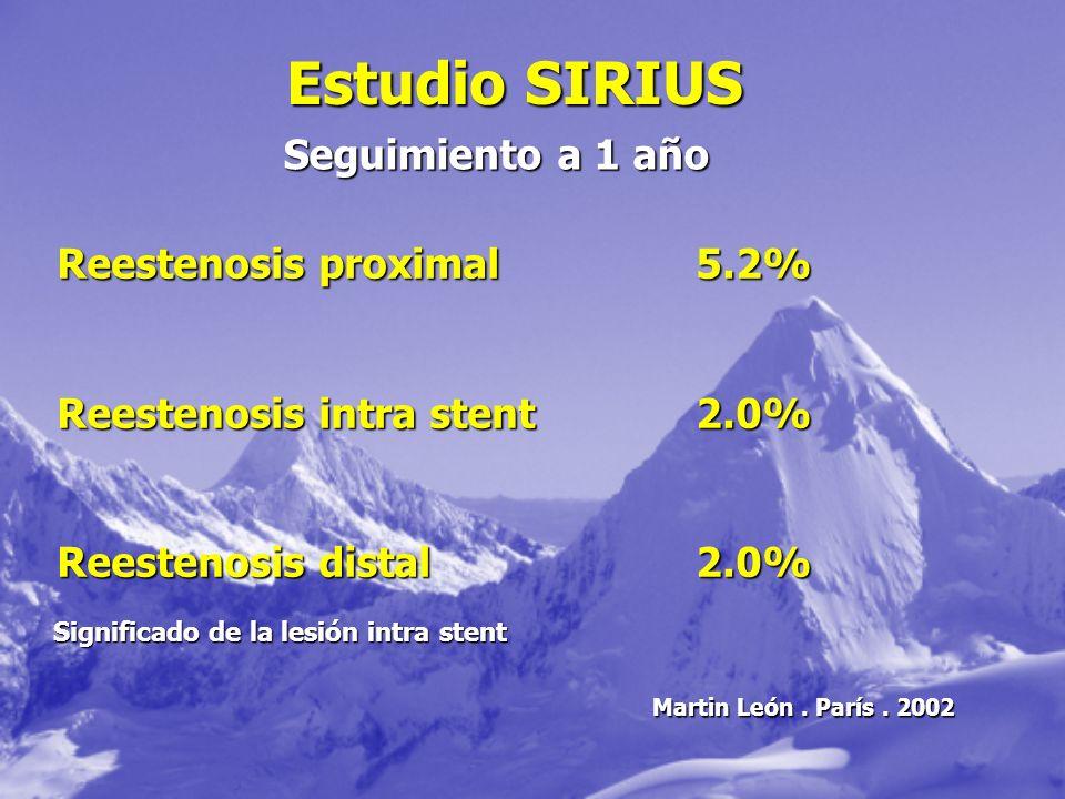 Estudio SIRIUS Seguimiento a 1 año Reestenosis proximal5.2% Reestenosis intra stent2.0% Reestenosis distal2.0% Significado de la lesión intra stent Ma