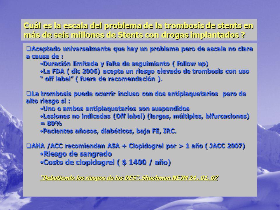 Cuál es la escala del problema de la trombosis de stents en más de seis millones de Stents con drogas implantados ? Aceptado universalmente que hay un