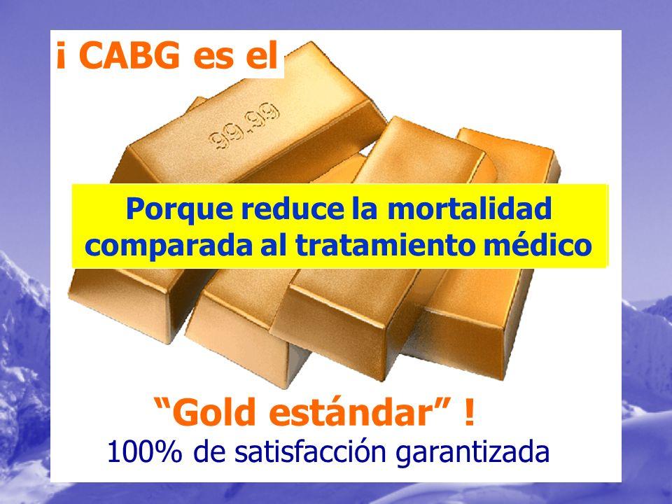 ¡ CABG es el Gold estándar ! Porque reduce la mortalidad comparada al tratamiento médico 100% de satisfacción garantizada