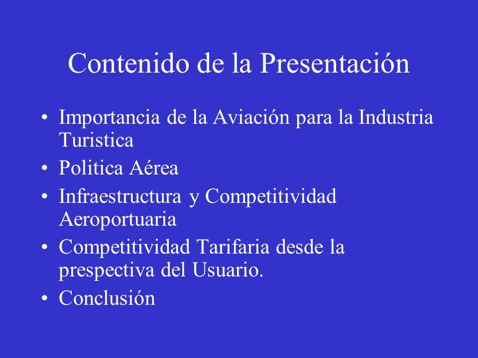 Contenido de la Presentación Importancia de la Aviación para la Industria Turistica Politica Aérea Infraestructura y Competitividad Aeroportuaria Comp