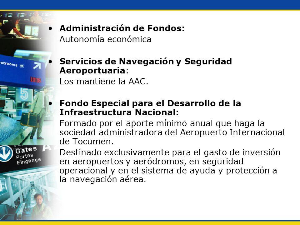 Administración de Fondos: Autonomía económica Servicios de Navegación y Seguridad Aeroportuaria: Los mantiene la AAC. Fondo Especial para el Desarroll