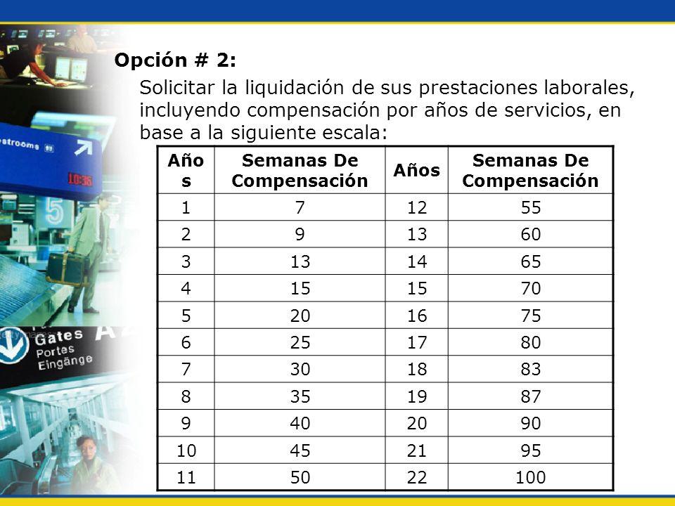 Opción # 2: Solicitar la liquidación de sus prestaciones laborales, incluyendo compensación por años de servicios, en base a la siguiente escala: Año