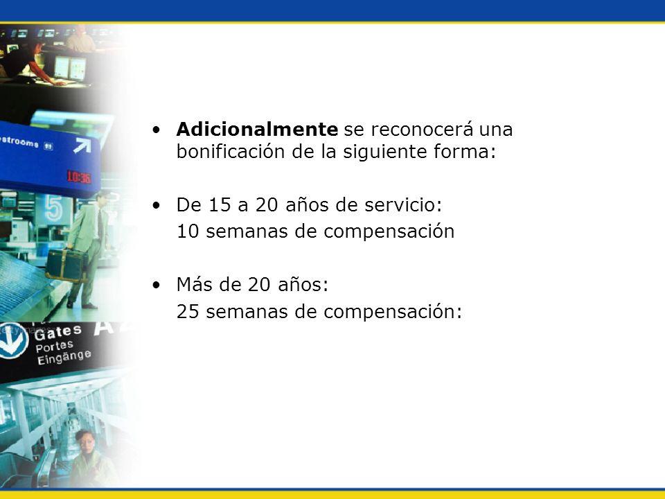Adicionalmente se reconocerá una bonificación de la siguiente forma: De 15 a 20 años de servicio: 10 semanas de compensación Más de 20 años: 25 semana