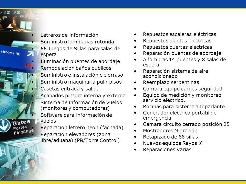 Letreros de información Suministro luminarias rotonda 66 Juegos de Sillas para salas de espera Iluminación puentes de abordaje Remodelación baños públ