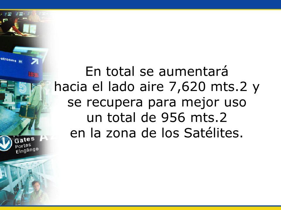 En total se aumentará hacia el lado aire 7,620 mts.2 y se recupera para mejor uso un total de 956 mts.2 en la zona de los Satélites.