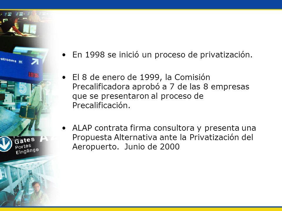 En 1998 se inició un proceso de privatización. El 8 de enero de 1999, la Comisión Precalificadora aprobó a 7 de las 8 empresas que se presentaron al p