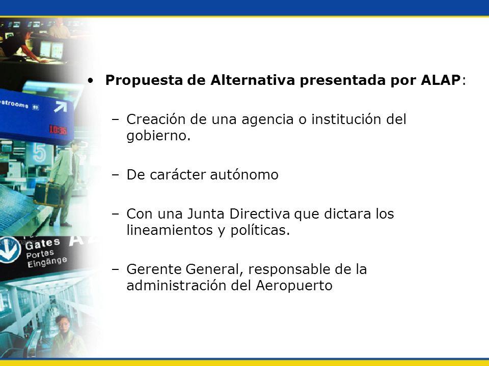 Propuesta de Alternativa presentada por ALAP: –Creación de una agencia o institución del gobierno. –De carácter autónomo –Con una Junta Directiva que