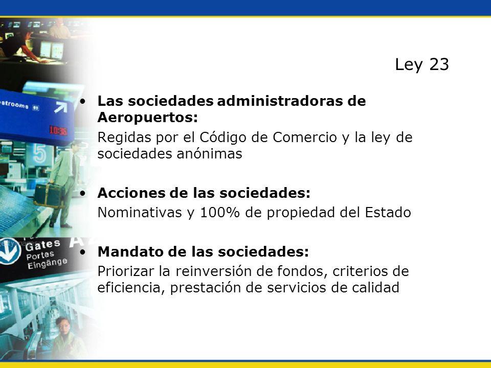 Ley 23 Las sociedades administradoras de Aeropuertos: Regidas por el Código de Comercio y la ley de sociedades anónimas Acciones de las sociedades: No