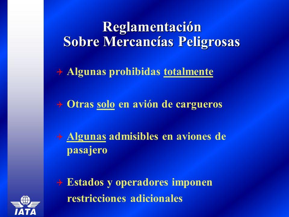 Reglamentación Sobre Mercancías Peligrosas Algunas prohibidas totalmente Otras solo en avión de cargueros Algunas admisibles en aviones de pasajero Es