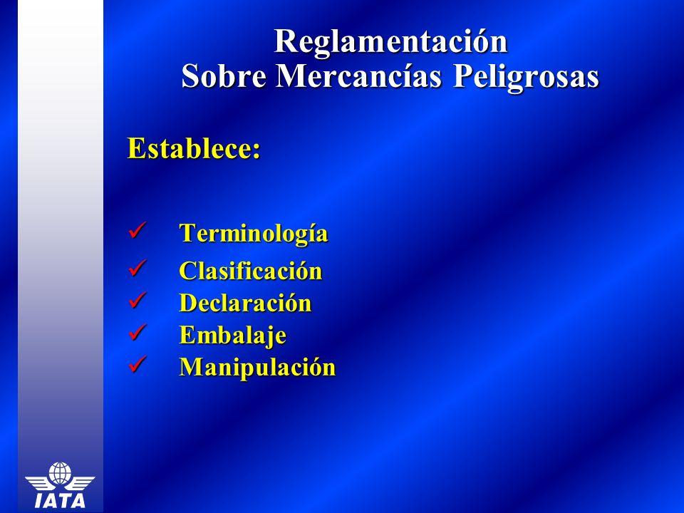 Reglamentación Sobre Mercancías Peligrosas Establece: Terminología Terminología Clasificación Clasificación Declaración Declaración Embalaje Embalaje