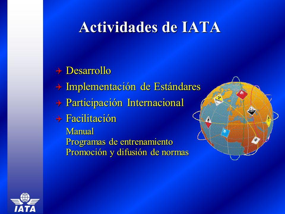 Actividades de IATA Actividades de IATA Desarrollo Desarrollo Implementación de Estándares Implementación de Estándares Participación Internacional Pa