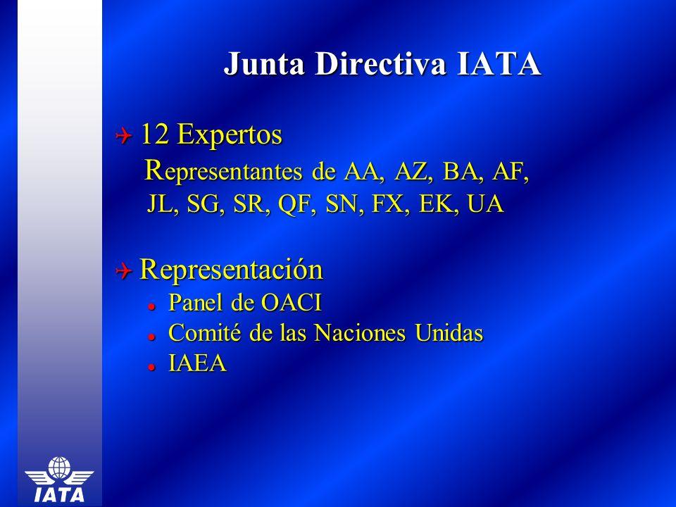 Junta Directiva IATA 12 Expertos 12 Expertos R epresentantes de AA, AZ, BA, AF, R epresentantes de AA, AZ, BA, AF, JL, SG, SR, QF, SN, FX, EK, UA JL,
