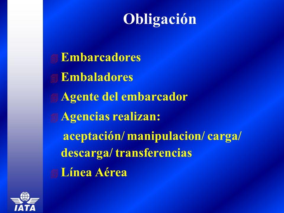 4 Embarcadores 4 Embaladores 4 Agente del embarcador 4 Agencias realizan: aceptación/ manipulacion/ carga/ descarga/ transferencias 4 Línea Aérea Obli