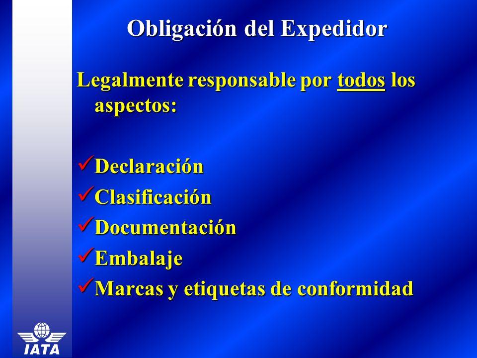 Obligación del Expedidor Legalmente responsable por todos los aspectos: Declaración Declaración Clasificación Clasificación Documentación Documentació