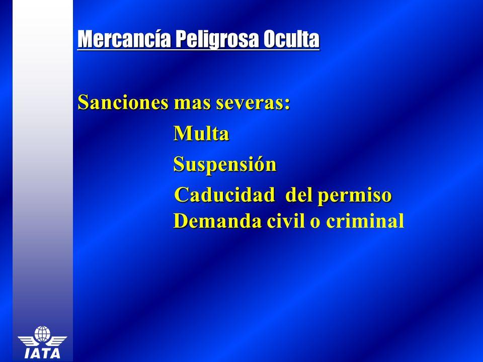 Mercancía Peligrosa Oculta Sanciones mas severas: MultaSuspensión Caducidad del permiso Demanda Caducidad del permiso Demanda civil o criminal