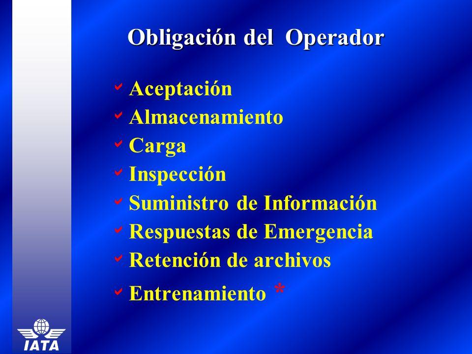 Aceptación Almacenamiento Carga Inspección Suministro de Información Respuestas de Emergencia Retención de archivos Entrenamiento * Obligación del Ope
