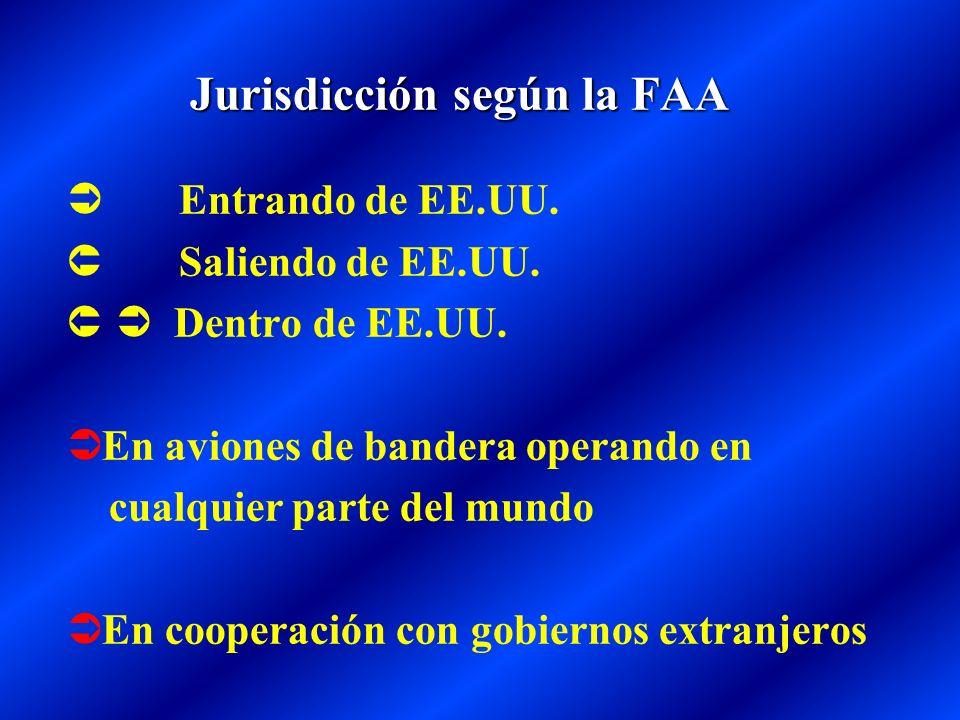 Jurisdicción según la FAA Entrando de EE.UU. Saliendo de EE.UU. Dentro de EE.UU. En aviones de bandera operando en cualquier parte del mundo En cooper