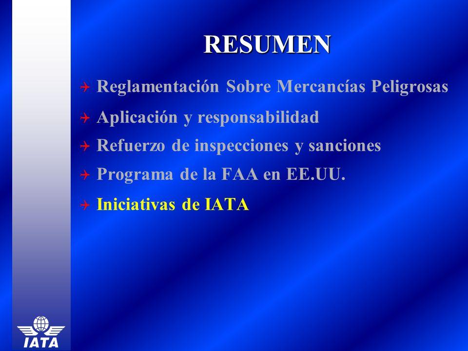 RESUMEN Reglamentación Sobre Mercancías Peligrosas Aplicación y responsabilidad Refuerzo de inspecciones y sanciones Programa de la FAA en EE.UU. Inic
