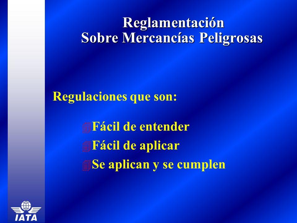 Reglamentación Sobre Mercancías Peligrosas Reglamentación Sobre Mercancías Peligrosas Regulaciones que son: 4 Fácil de entender 4 Fácil de aplicar 4 S