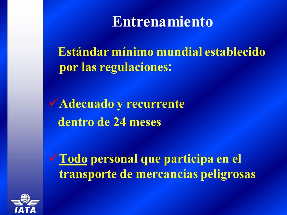 Estándar mínimo mundial establecido por las regulaciones : Adecuado y recurrente dentro de 24 meses Todo personal que participa en el transporte de me