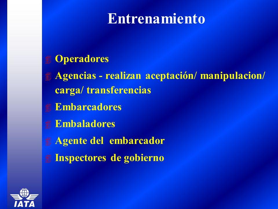 4 Operadores 4 Agencias - realizan aceptación/ manipulacion/ carga/ transferencias 4 Embarcadores 4 Embaladores 4 Agente del embarcador 4 Inspectores