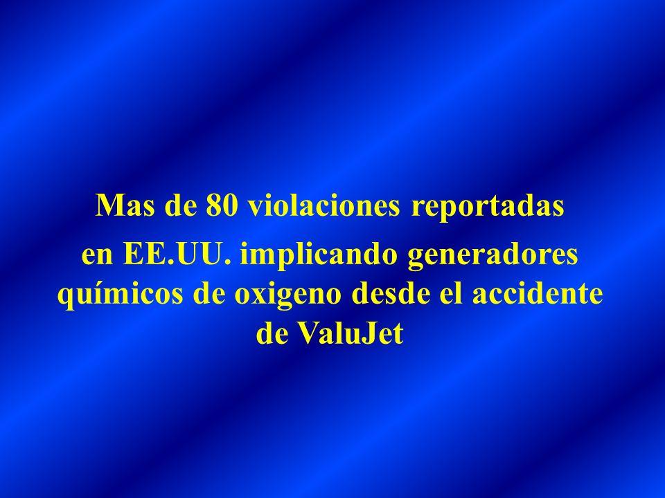 Mas de 80 violaciones reportadas en EE.UU. implicando generadores químicos de oxigeno desde el accidente de ValuJet