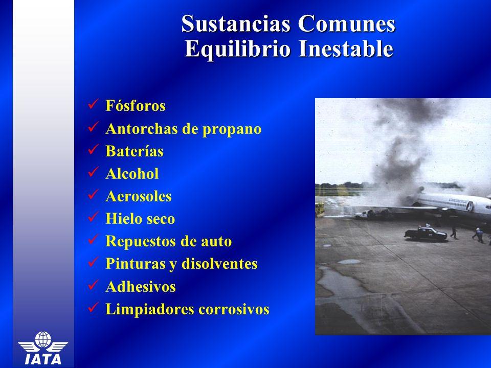 Sustancias Comunes Equilibrio Inestable Fósforos Antorchas de propano Baterías Alcohol Aerosoles Hielo seco Repuestos de auto Pinturas y disolventes A