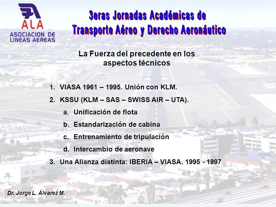 Dr. Jorge L. Álvarez M. La Fuerza del precedente en los aspectos técnicos 1.VIASA 1961 – 1995.