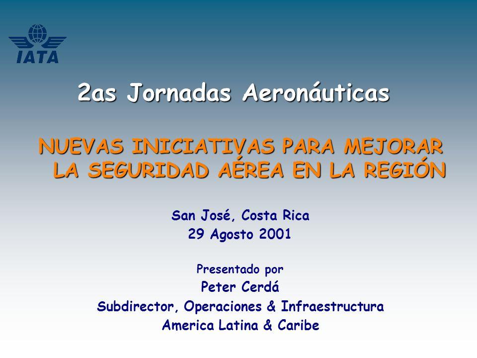 NUEVAS INICIATIVAS PARA MEJORAR LA SEGURIDAD AEREA EN LA REGION Un simple proceso OACI – IATA – IFALPA –IFATCA – AITAL AIRBUS – BOEING EMBRAER – FSF – CAST – JAA…… CHAIRPERSONS (2) Equipo Ejecutivo COMITE DE DIRECCION EQUIPOS DE ACCION DGAC LINEAS AEREAS PILOTOS ATC CONTROLADORES FABRICANTES DE AVIONES …….OTROS LA SELECCION DE PRODUCTOS DE SEGURIDAD AEREA IMPLEMENTACION DE ESTRATEGIAS ENTREGA DE LOS PRODUCTOS E INTERVENCIONES