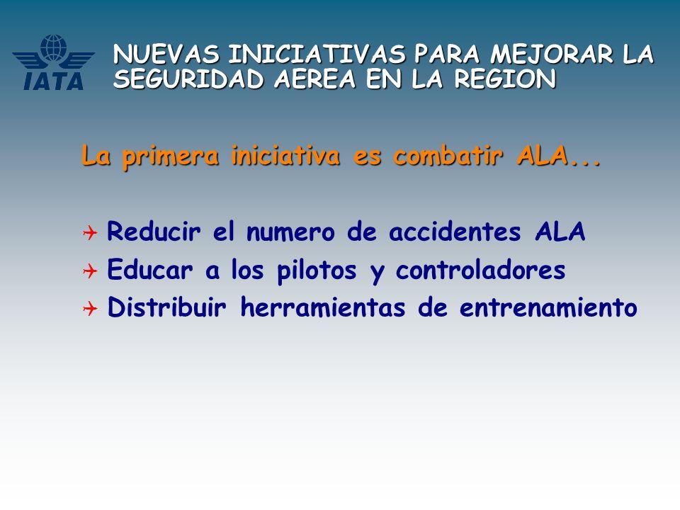 NUEVAS INICIATIVAS PARA MEJORAR LA SEGURIDAD AEREA EN LA REGION La primera iniciativa es combatir ALA... Reducir el numero de accidentes ALA Educar a