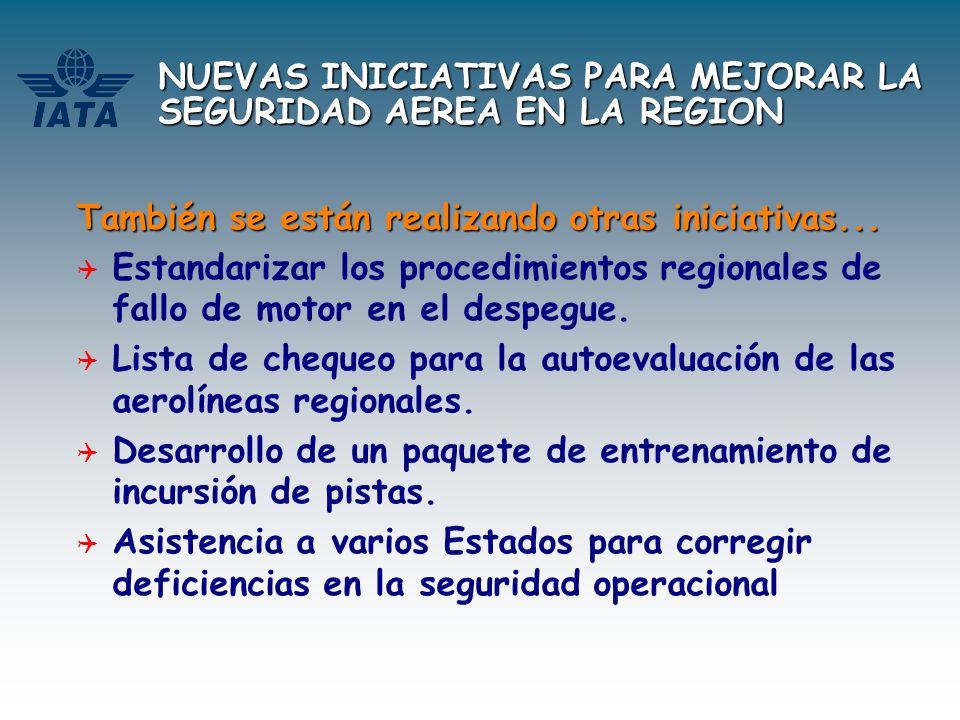 NUEVAS INICIATIVAS PARA MEJORAR LA SEGURIDAD AEREA EN LA REGION También se están realizando otras iniciativas... Estandarizar los procedimientos regio