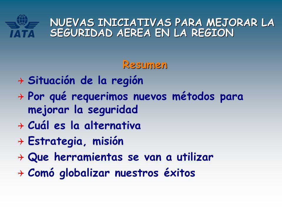NUEVAS INICIATIVAS PARA MEJORAR LA SEGURIDAD AEREA EN LA REGION Resumen Situación de la región Por qué requerimos nuevos métodos para mejorar la segur