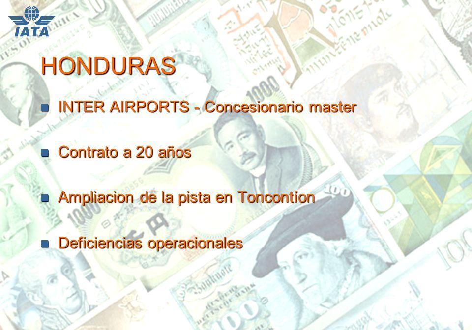 HONDURAS n INTER AIRPORTS - Concesionario master n Contrato a 20 años n Ampliacion de la pista en Toncontíon n Deficiencias operacionales