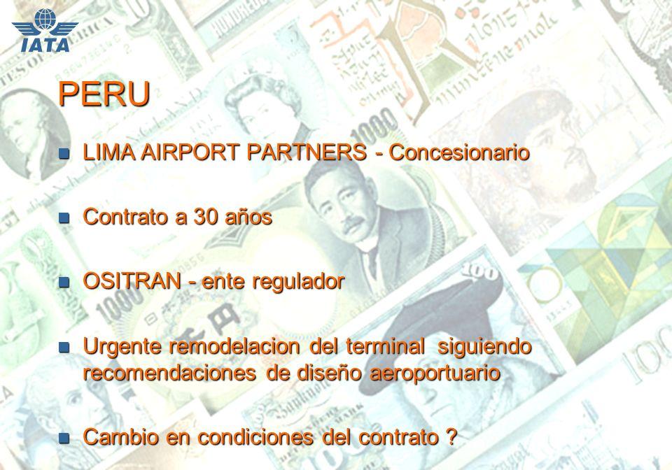 PERU n LIMA AIRPORT PARTNERS - Concesionario n Contrato a 30 años n OSITRAN - ente regulador n Urgente remodelacion del terminal siguiendo recomendaciones de diseño aeroportuario n Cambio en condiciones del contrato
