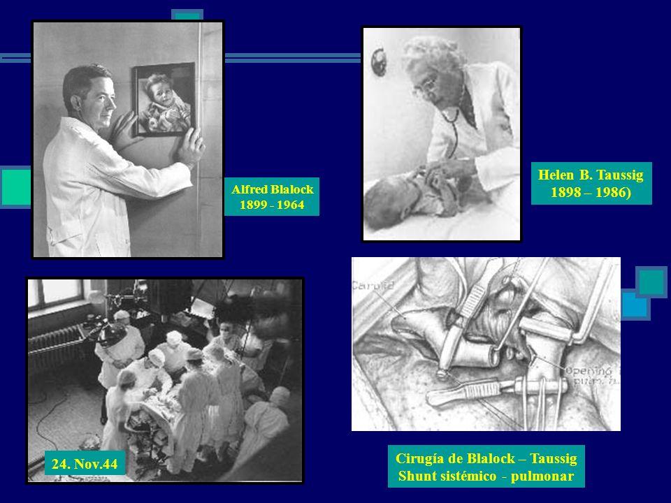 Helen B. Taussig 1898 – 1986) Alfred Blalock 1899 - 1964 24. Nov.44 Cirugía de Blalock – Taussig Shunt sistémico - pulmonar