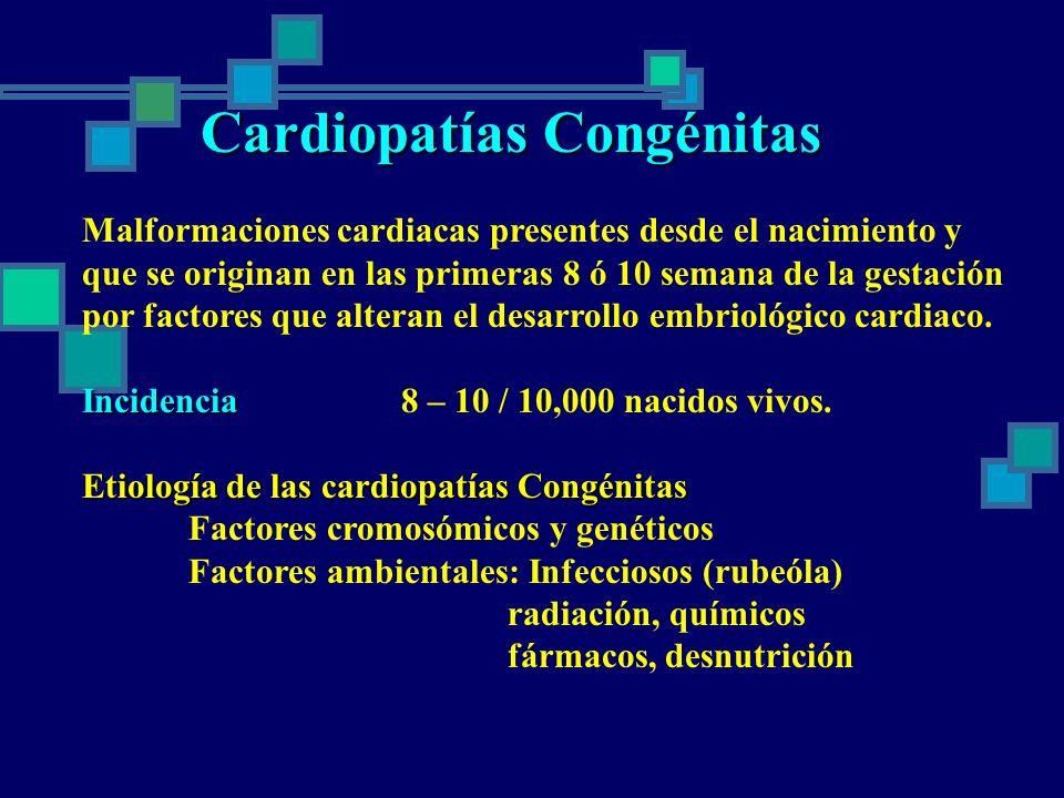 Cardiopatías Congénitas Malformaciones cardiacas presentes desde el nacimiento y que se originan en las primeras 8 ó 10 semana de la gestación por fac