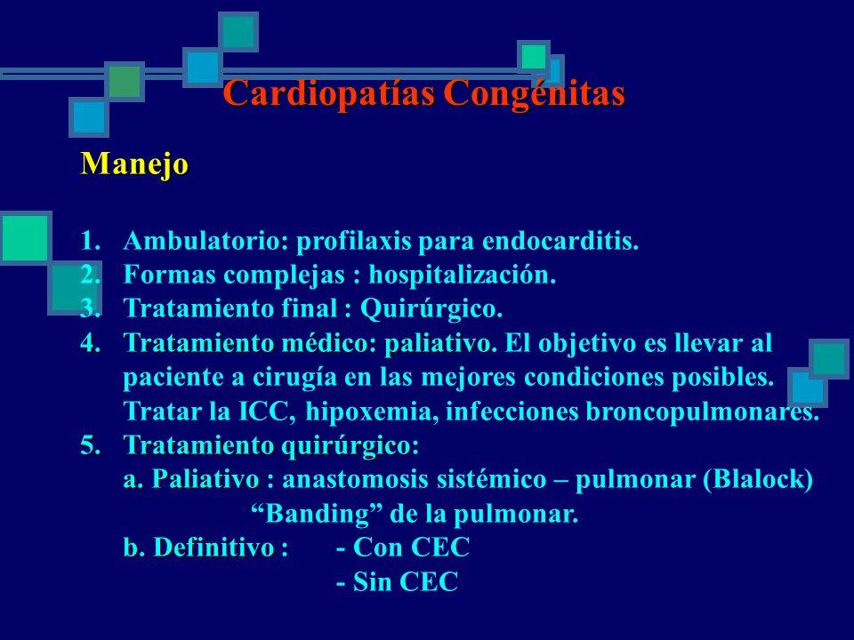 Cardiopatías Congénitas Manejo 1.Ambulatorio: profilaxis para endocarditis. 2.Formas complejas : hospitalización. 3.Tratamiento final : Quirúrgico. 4.