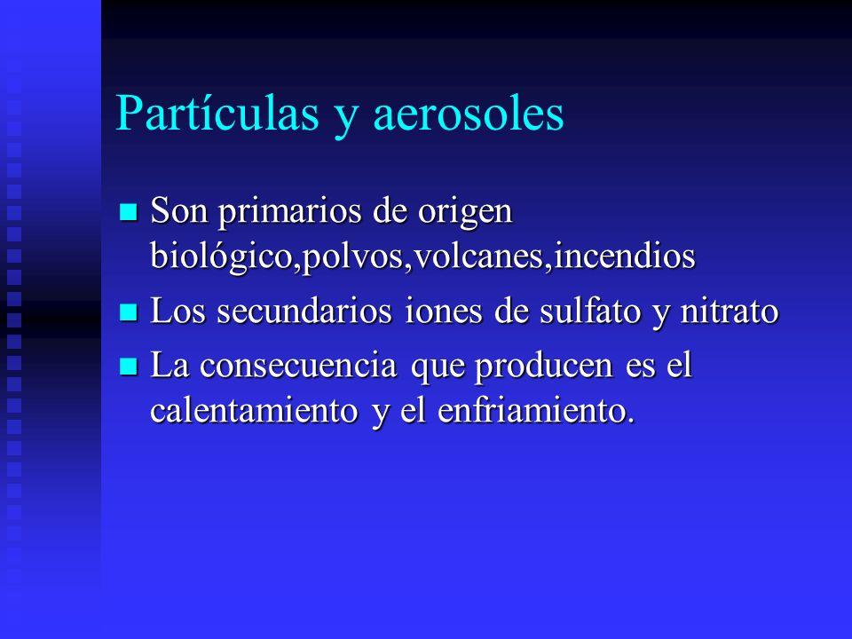 Partículas y aerosoles Son primarios de origen biológico,polvos,volcanes,incendios Son primarios de origen biológico,polvos,volcanes,incendios Los sec