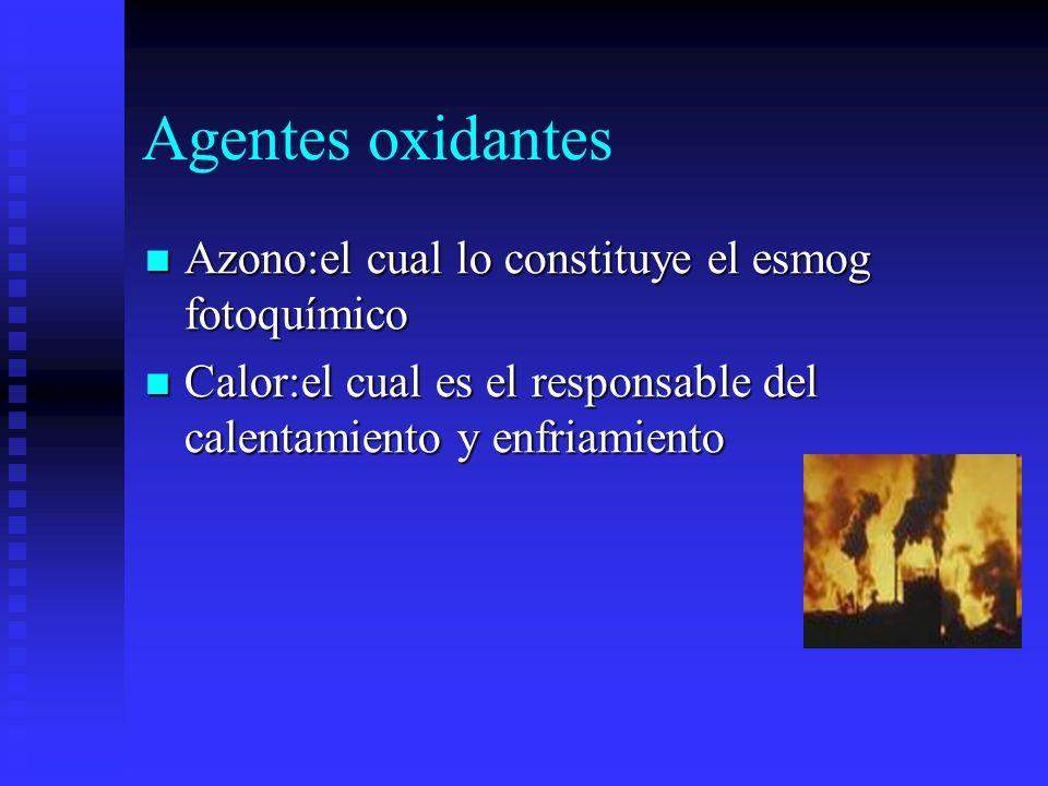 Agentes oxidantes Azono:el cual lo constituye el esmog fotoquímico Azono:el cual lo constituye el esmog fotoquímico Calor:el cual es el responsable de